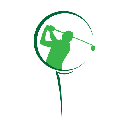 Modern golf competition logo with a man swing golf club inside the golf ball Vectores