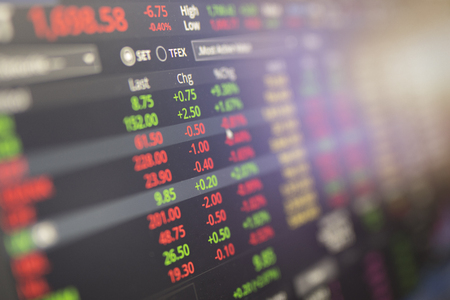 stock data on the screen with stock trading concept