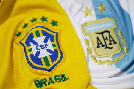 BANGKOK THAILAND - DECEMBER 14: the logo of Brazil and Argentina on  Football Jersey on December 14,2017 Editorial