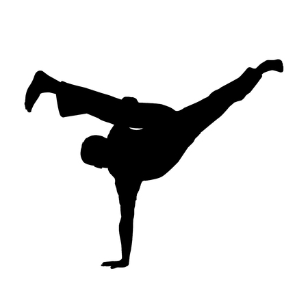 vector of silhouette capoeira au batido or L kick in breakdance