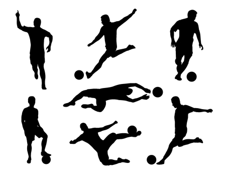 Silhouette  set of soccer player kicking the ball Ilustração