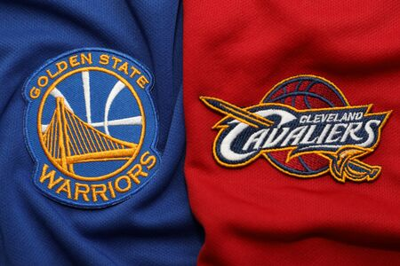 BANGKOK, THAILAND-MAY 29 : View of Golden State Warriors and  Cleveland Cavaliers Logo on the Jersey for NBA Final on May 29, 2018