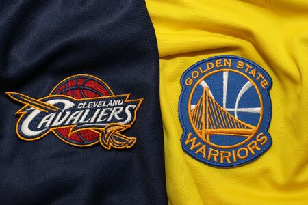 BANGKOK, THAILAND - MAY 29 : View of Golden State Warriors and  Cleveland Cavaliers Logo on the Jersey for NBA Final on May 29, 2018