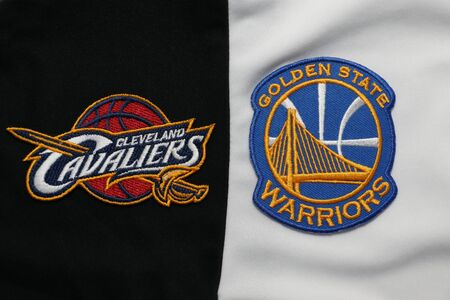 BANGKOK,THAILAND-MAY 29: View of Golden State Warriors and  Cleveland Cavaliers Logo on the Jersey for NBA Final on May 29, 2018 Éditoriale