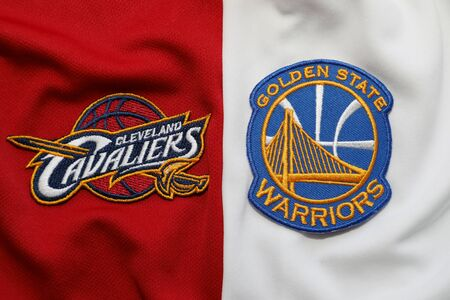 BANGKOK, THAILAND - MAY 29: View of Golden State Warriors and  Cleveland Cavaliers Logo on the Jersey for NBA Final on May 29, 2018