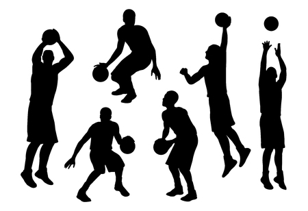 vector of silhouette basketball player in action set 2 Ilustração