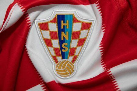 BANGKOK, THAILAND - JUNE 4, 2018 : the logo of  Croatia National Football Team on Football Jersey Editorial