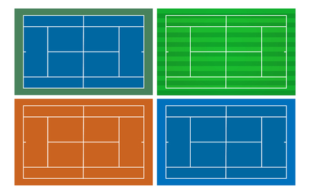vector 4 style of tennis court template Illustration
