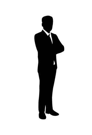 vector of silhouette businessman standing with folded arm