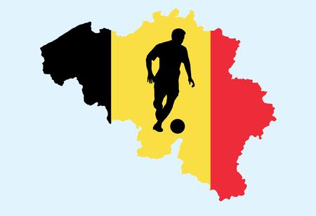 Vektor der belgischen Karte mit Silhouette Fußballspieler