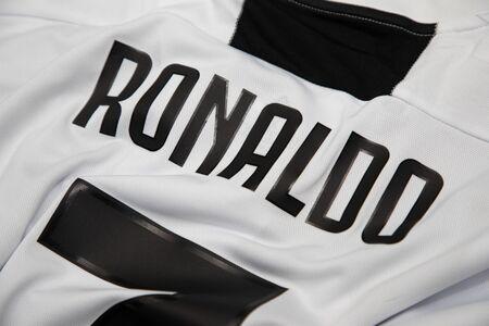BANGKOK, THAILAND - JULY 7, 2018 : The  Name of Cristiano Ronaldo on Juventus Jersey