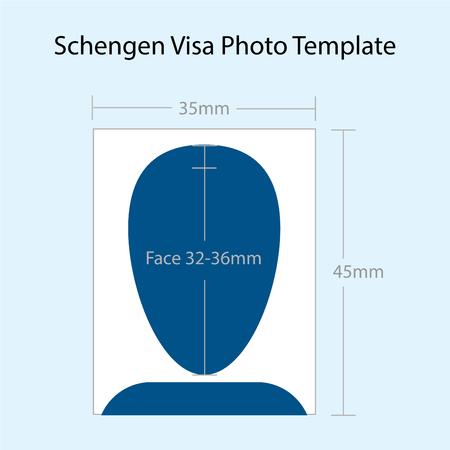Vector of Schengen Visa Photo 35mmx45mmTemplate
