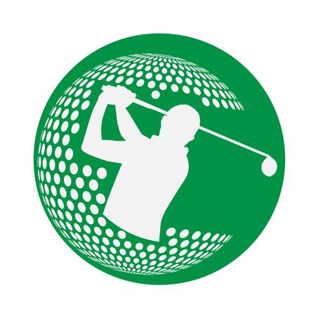 modern golf competition logo with a man swing golf club inside the golf ball