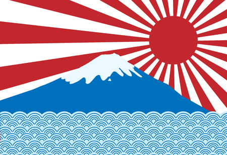 vector of red sun ray of japan rising sun with fuji san and blue wave