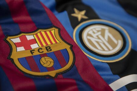 BANGKOK, THAILAND - October 24, 2018 : Logo of Barcelona and Inter Milan on the Jersey.Both of them will face each other in UCL tonight Editorial