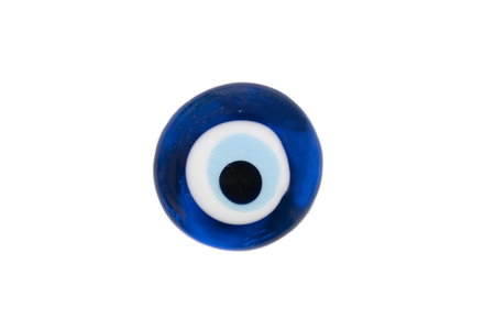 Isolated turkish evil eye amulet on white background,