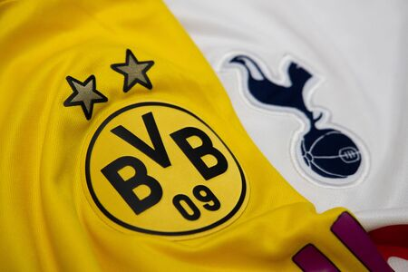 BANGKOK, THAILAND-DECEMBER 18, 2018 : The Logo of Borussia Dortmund and Tottenham Hotspur on Football Jerseys on December 18, 2018. Both of them will face each other in UCL Knock Out