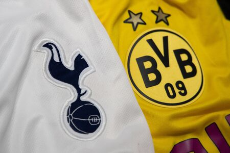 BANGKOK, THAILAND-DECEMBER 18, 2018 : The Logo of Tottenham Hotspur and Borussia Dortmund on Football Jerseys on December 18, 2018. Both of them will face each other in UCL Knock Out