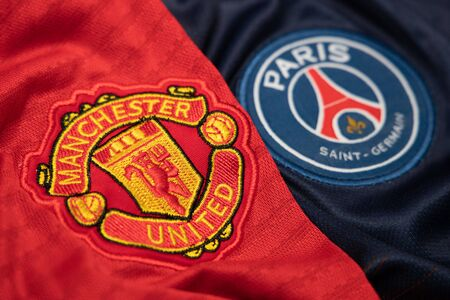 BANGKOK, THAILAND-DECEMBER 18, 2018 : Manchester United and PSG Paris Saint Germain Logo on the Jersey on December 18, 2018. Both of them will face each other in UCL Knock Out Round Soon