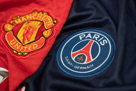 BANGKOK, THAILAND-DECEMBER 18, 2018 : Manchester United and PSG Paris Saint Germain Logo on the Jersey on December 18,2018. Both of them will face each other in UCL Knockout Round Soon