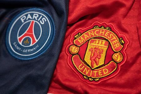BANGKOK, THAILAND-DECEMBER 18, 2018 : PSG Paris Saint Germain and Manchester United Logo on the Jersey on December 18, 2018. Both of them will face each other in UCL Knock Out 報道画像