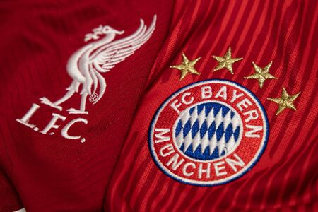 BANGKOK, THAILAND-DECEMBER 18, 2018 : Liverpool and Bayern Munich Logo on the Jersey on December 18, 2018. Both of them will face each other in UCL Knock 報道画像