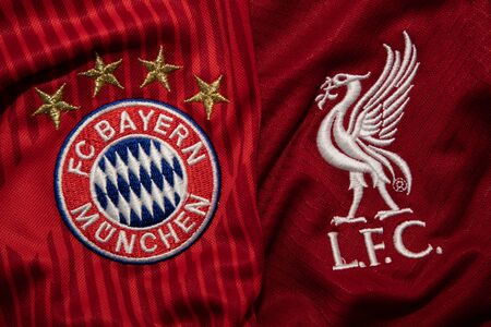 BANGKOK, THAILAND-DECEMBER 18, 2018 : Bayern Munich  and Liverpool Logo on the Jersey on December 18,2018. Both of them will face each other in UCL Knock 報道画像