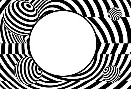 vector of 3d  twisted circle black and white optical illusion with blank copyspace Foto de archivo - 119659952