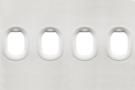 Isolated airplane window from customer seat view 版權商用圖片