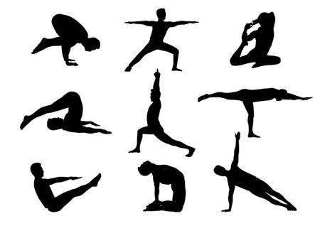 isolated silhouette man in yoga posture Ilustração Vetorial