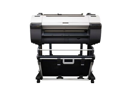 Isolated large format inkjet printer on white background