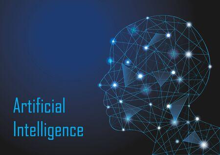 Testa umana low poly per il concetto di tecnologia di intelligenza artificiale