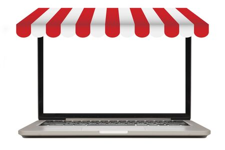 Isolated laptop with blank copyspace with red awning on white background Stock Photo