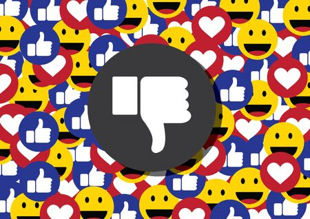 unlike or thumb down emoticon social media background