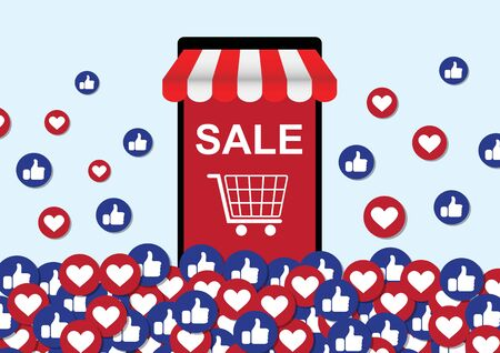 online mobile phone store with thumb-up and heart emoticon social media background