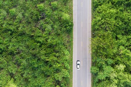 Aerial view of the road passing the forest with a car passing by