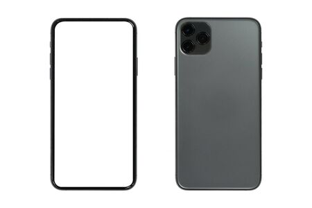 Isolated new mobilephone with blank screen for copyspace