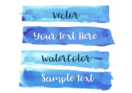 Vector of Blue Watercolor Stripe Brush Stroke Background with Blank Copyspace
