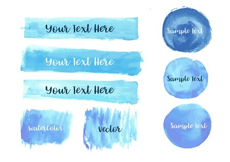 Vector of Blue Watercolor Brush  Set with Blank Copyspace 向量圖像