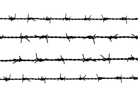 silhouette barbed wire background Vettoriali