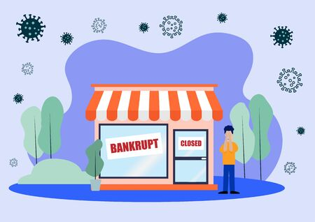Flat Layer Cartoon of Sad Man with His Closed Shop Due to Covid-19 or Corona Virus Pandemic