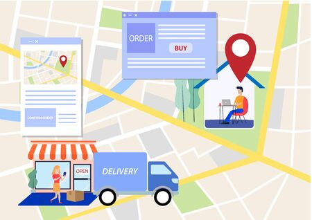 Flat Layer Cartoon of Online Shopping and Shop Delivery Process For E-Commerce Concept Foto de archivo - 143666553
