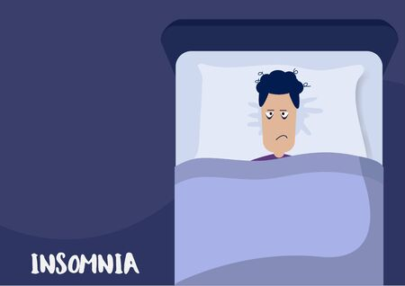 Flat Layer Cartoon of Sleepless man who suffer from insomnia