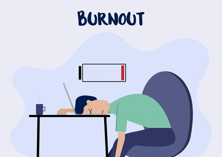 Illustration Cartoon of a Man Lie Down on His Laptop with Burnout Syndrome