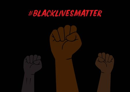 Illustration of Fists with Black Lives Matter Social Network Hashtag to Protext Against Racism on Black Background Çizim