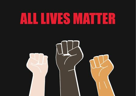 Illustration of Fists with All Lives Matter Concept