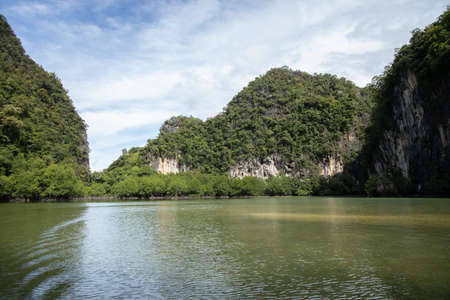 View inside Hong Island in Krabi Thailand 写真素材