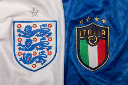 BANGKOK,THAILAND-JULY 8- View of England Against Italy National Football Crest For Euro 2020 Final on July 7,2021