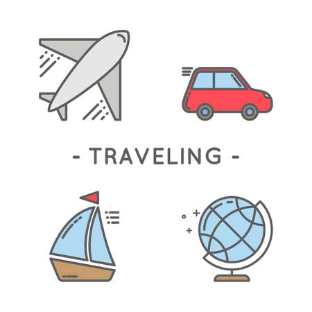 Universal minimal traveling line icon color set on white background