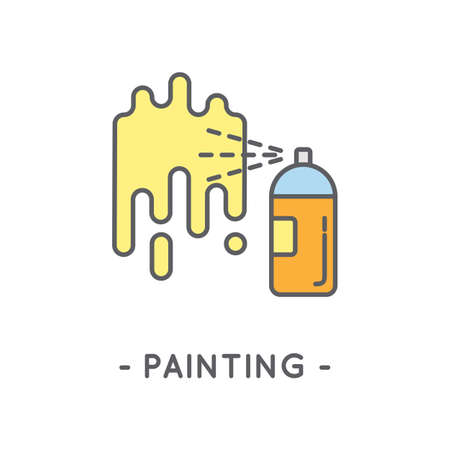 compressed air: Universal minimal color spray paint line icon on white background